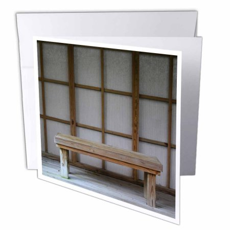 3dRose Japanese style tea house bench, Greeting Cards, 6 x 6 inches, set of 6