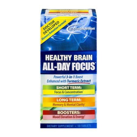 Applied Nutrition Healthy Brain All-Day Focus Dietary Supsplement Tablets – 50 CT