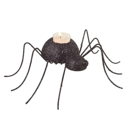 10.25″ Glitter Drenched Black Spider Shaped Halloween Tea Light Candle Holder