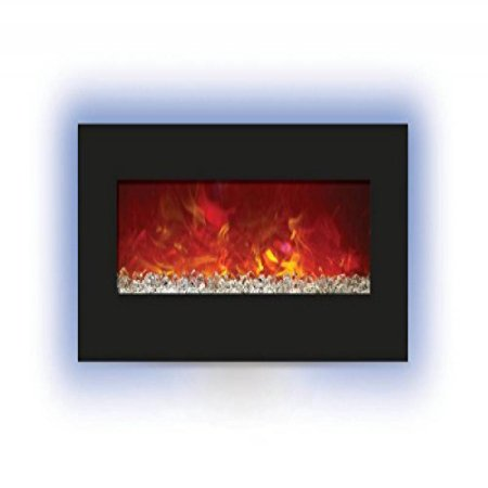 34″ Electric Fireplace with 44″ x 23″ Black Glass & Back Light