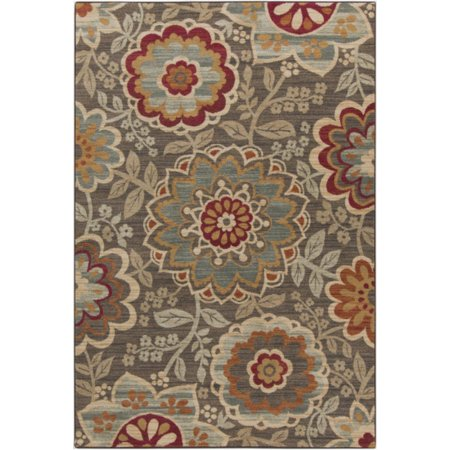 1.85′ x 2.9′ Ahmose Mocha, Tan, Charcoal Gray and Cherry Red Decorative Floral Design Area Throw Rug