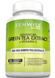 Green Tea Extract Supplement with EGCG & Vitamin C – Antioxidants & Polyphenols for Immune System – For Weight Support & Energy – Decaffeinated Pills for Brain & Heart Health – 120 Count
