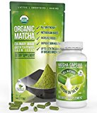 Matcha Green Tea Powder – Powerful Antioxidant Japanese Organic (Matcha Capsule + Culinary Matcha Powder) by Kiss Me Organics