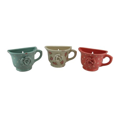 3 Pc. Vintage Rose Dots Tea Cup Planters Wall Hanging Set