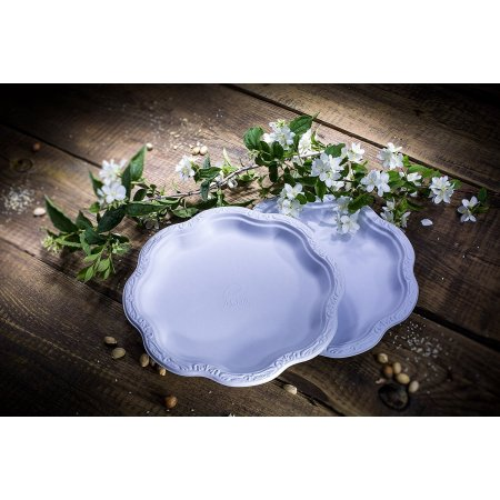 (500 COUNT) 10″ inch Disposable Floral Large Premium White Plates Acanthus Collection